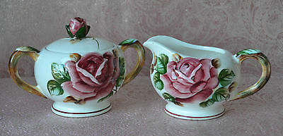 VTG ESD JAPAN REGAL ROSE (1950's) - CREAMER / PITCHER and Covered SUGAR BOWL