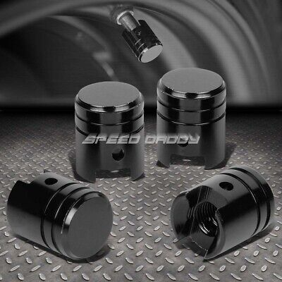 4 X Aluminum Piston Tire/Rim Valve/Wheel Air Port Dust Cover Stem Cap/Caps Black