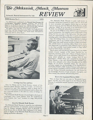 The Mekanisk Musik Museum Review & Catalog - MMM Review #1 - 1972 - 20 pp