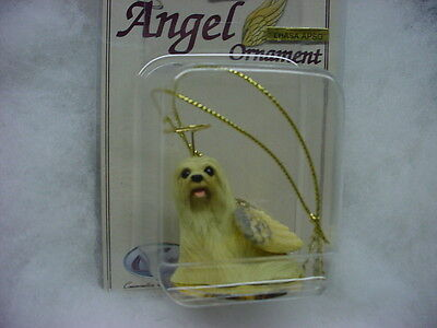 LHASA APSO blonde dog ANGEL Ornament PAINTED Figurine NEW Christmas cream puppy