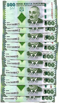 Tanzania 500 Shillings Nd(2010) P-40 Unc Lot 10 Pcs