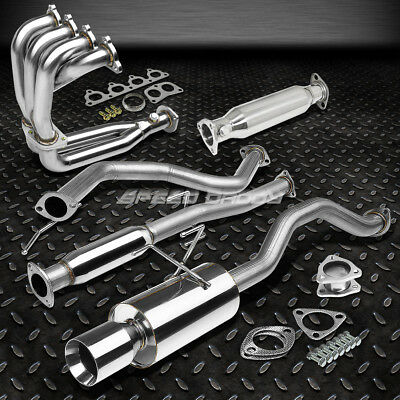 """4"""" Rolled Muffler Tip Racing Catback+Header+Exhaust Pipe For 92-00 Civic 2Dr/4Dr"""