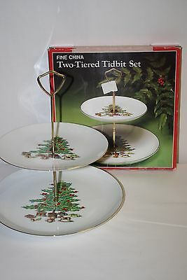 Tienshan Vintage Holiday Hostess Two Tier Tidbit Tray GOLD TRIM