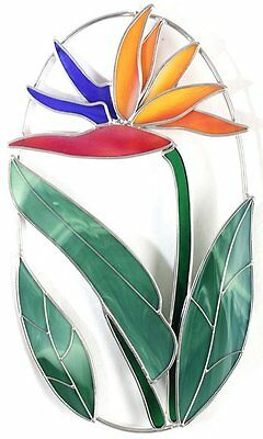 Stain Glass Bird of Paradise Tropical Flower on Wire Ring