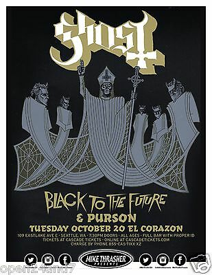 GHOST B.C. / BLACK TO THE FUTURE 2015 SEATTLE CONCERT TOUR POSTER - Doom Metal
