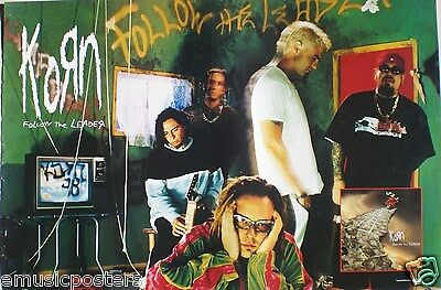 """KORN """"FOLLOW THE LEADER"""" PROMO POSTER - Group Hanging Out In Green-Colored Room"""