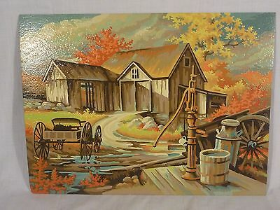 VIntage Paint By Number of Barn Farm Scene Craft House Americana Series Unframed