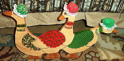 """Vintage Handcrafted  Christmas Goose/Geese Wooden Home Decor 22"""" X 11.5"""" 3"""""""