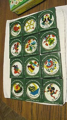 VINTAGE TRIM A TREE 12 DAYS OF CHRISTMAS ORNAMENTS HANDPAINTED GLASS IN BOX