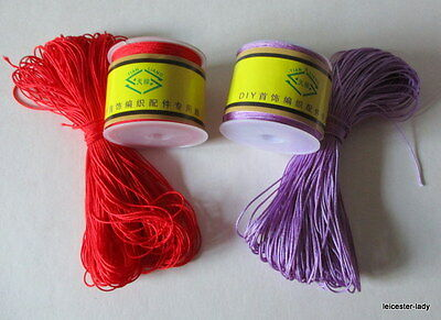 100ft Reel of 0.5mm/0.7mm diameter woven IMITATION SILK CORD - RED or PURPLE