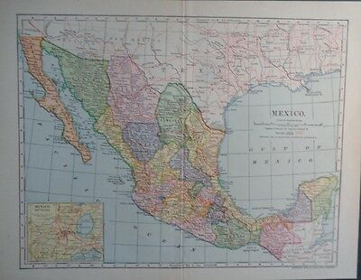 1903 Mexico Lake Tezcoco Mexico City Dodd, Mead Co. Colorful Map
