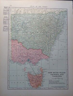 1905 New South Wales Victoria Tasmania Queensland 2-sided Colorful Hammond Map