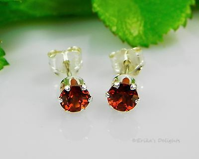 Genuine Mozambique Garnet Round 925 Sterling Silver Earrings (Choose Your Size)