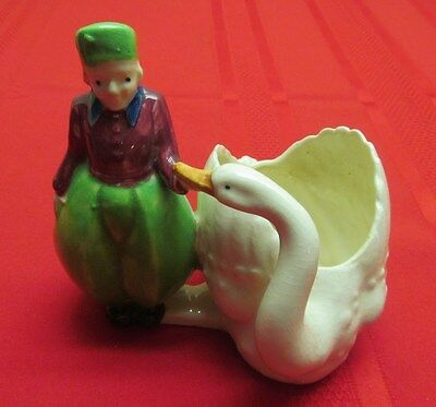 Vintage Ceramic Art Pottery Lady & White Swan Planter Catch All Made In Japan