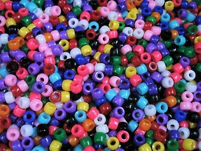 Pony Beads 500pcs Fun Mix 6x4mm Craft Jewellery Spacer Acrylic Hair FREE POSTAGE
