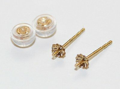 12MM  LENGTH  18k solid gold POST AND STOPPER