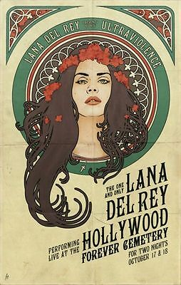 "Lana Del Rey Music Star Fabric poster 20"" x 13"" Decor 111"