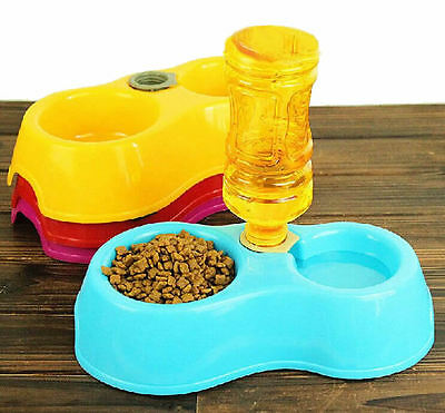 Dog Rabbit Cat Small Pet Feeder Automatic Water Dispenser Double Food Dish Bowl