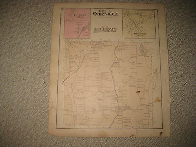 Antique 1883 Concord Cornville Brighton Somerset County Maine Handcolored Map Nr