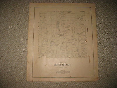 Antique 1883 Brighton Somerset County Maine Handcolored Map Superb Rare Nr