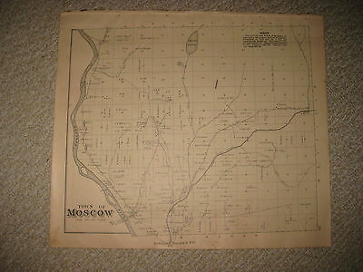 Antique 1883 Moscow Madison Mercer Somerset County Maine Handcolored Map Rare Nr