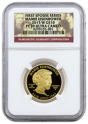 2015-W $10 1/2 Oz Proof Gold First Spouse Mamie Eisenhower NGC PF70 UC SKU37846