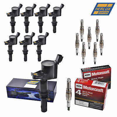 Set of 8 Motorcraft Spark Plugs SP515 PZH14F + 8 Herko Ignition Coils for Ford