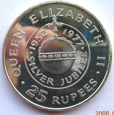 Seychelles 1977 Silver Jubilee 25 Rupees Silver Coin,Proof