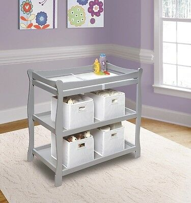 Badger Basket Sleigh Style Changing Table - Gray 22366 Baby Changing Table NEW