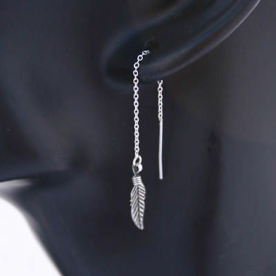 Eagle Feather Threader Ear Chain Earrings Solid Sterling Silver .925 E054