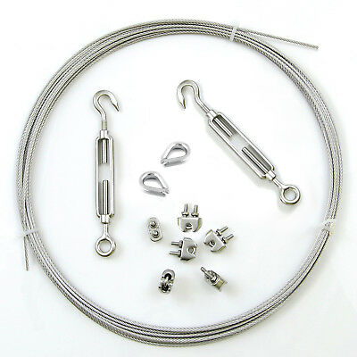 5-50m GALVANISED WIRE ROPE KIT 3-10mm 6x clamps 2x turnbuckles 2x thimbles metal
