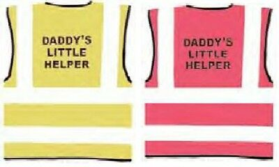 """Child Hi Vis Vest Printed """"DADDY'S LITTLE HELPER 3 Sizes 3/11 Years Pink Yellow"""