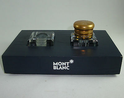 Encrier Mont Blanc Ecriture Glass Inkwell Inkstand Old Rare Stylo Fountain Pen