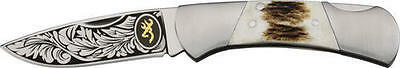 """Browning BR368 Knives Folder Knife Stag Handle Classic Lockback 3 1/4"""" Closed"""