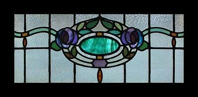 Stunning Rare Art Nouveau Floral Jewel Antique English Stained Glass Window