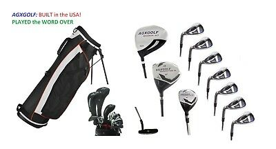 """TALL +2.0"""" MENS LEFT HAND COMPLETE GOLF CLUB SET wBAG+DRIVER+5-9 IRONS+PW+PUTTER"""