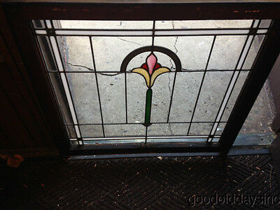 "Antique 1920's Chicago Bungalow Style Stained Leaded Glass Window 32"" by 32"""