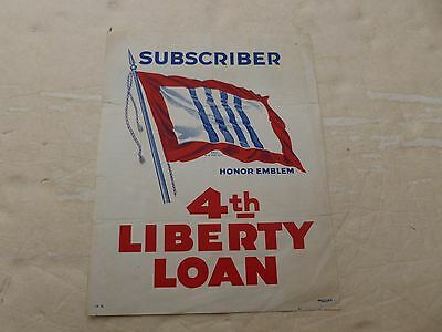 WWI 4th Liberty Loan Poster Home Front Window Honor Emblem Forbes Boston