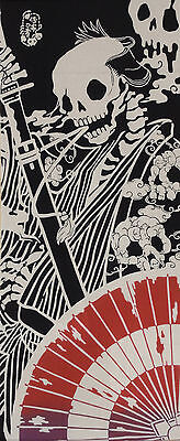Tenugui Japanese Cotton Cloth Gothic 'Surreal Samurai' Skeleton Fabric