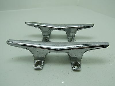 Pair 6 Inch Old Chrome Ship Boat Dock Cleats Chocks (#1401)
