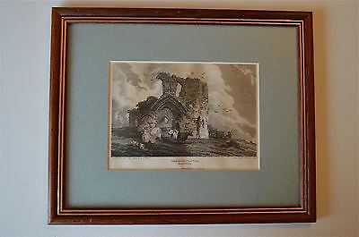 Original Antique Framed Print Denbigh Castle North Wales Circa.1815 30