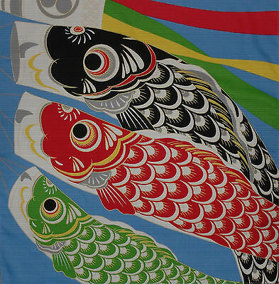 Furoshiki Cloth Japanese Cotton 'Three Koinobori' Carp Streamers Koi Fabric 50cm