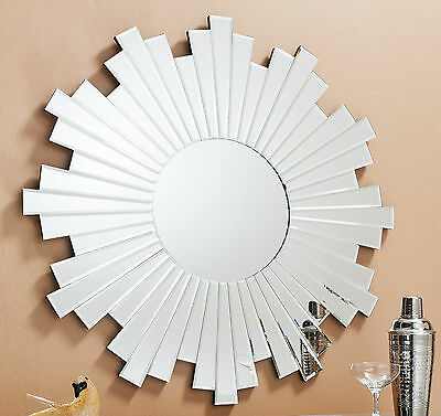 Zamora Large round wall hall overmantal star beveled mirror pieces 80cm x 80cm