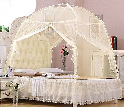 Beige Bedding Canopy Mosquito Net Tent  For Single King Super King Bed All Sizes