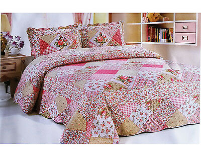 Patchwork Quilted Bedspread Bedding Set Embroidered Throw Cover Double King Size