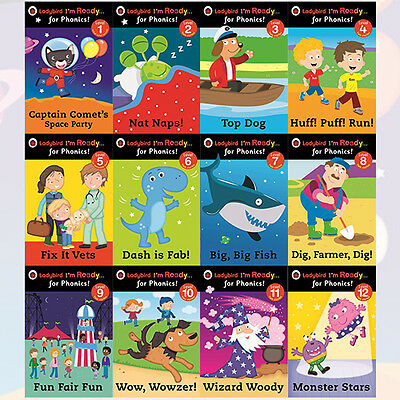 Ladybird I'm Ready for Phonics Series Collection 12 Book Set, Nat Naps!, New