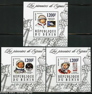 Benin 2015 Pioneers Of Space Set Of 3 S/s's Terechkova, Armstrong & Leonov Mint
