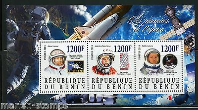 Benin 2015 Pioneers Of Space Sheet Of Three Terechkova, Armstrong & Leonov Mint