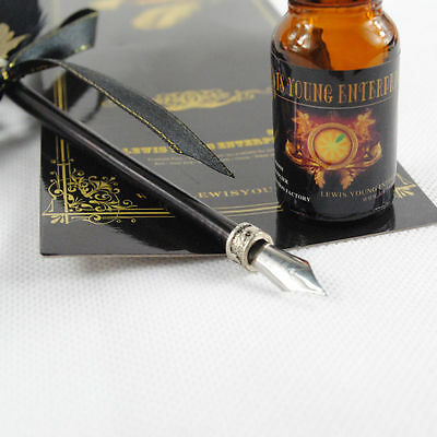Black Antique  Big Size Dip Pen Goose Quill Feather and Ink bottle Quill