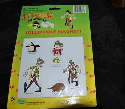 Vintage 1996 ACE VENTURA Collectible Magnets PET DETECTIVE Set of 5 NIP Unused